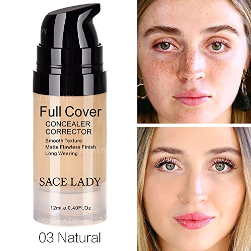 Pro Full Cover Liquid Concealer, Waterproof Smooth Matte Flawless Finish Creamy Concealer Foundation for Eye Dark Circles Spot Face Concealer Makeup, Size:6ml/0.20Fl Oz (03.Natural 12ml)
