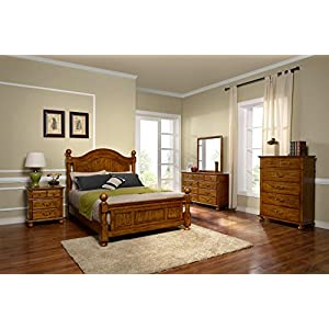 New Classic Furniture Cumberland 5-Piece California King Bed, Dresser, Mirror, Two Nightstands Bedroom Set,