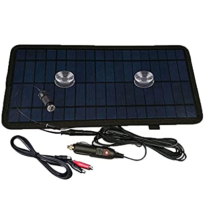 NUZAMAS 8.5W 12V Power Solar Panel Battery Charger For Car SUV Truck Boat Marine Caravan Comes with USB, Alligator Clips and Cigarette Adapter