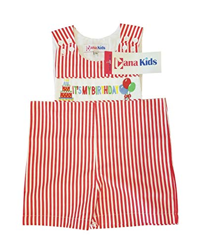 - Dana Kids Boys It's My Birthday Smocked Shortall 12M-4T (12 Months)