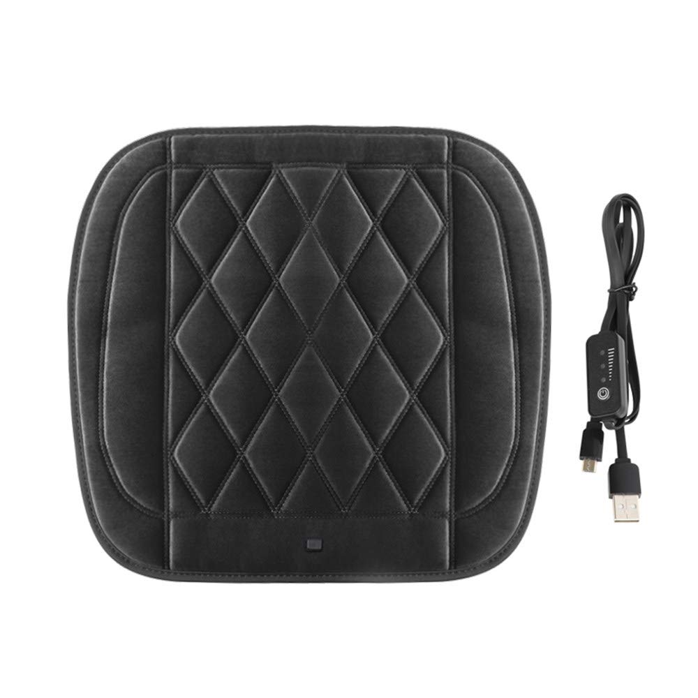 RALASE 12V/24V Universal Heated Seat Cushions for Car, Winter Plush Electric Heat Pad for Car, Graphene Heating, 9s Fast Heat, Relieves Driving Fatigue,Black-48x48cm