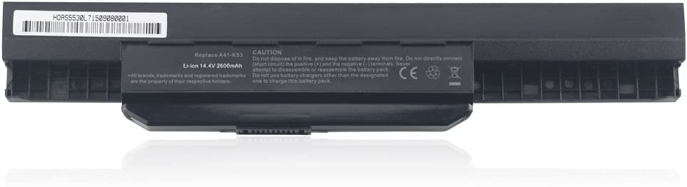 Bay Valley Parts A32-K53 Battery (14.4V 2600mAh) for Asus A32-K53 A42-K53 A53S K43 A45 K53 K53E X43 A83 A84 K54 K84 P43 P53 K53SV X44 X53E X54 X84 X84H A32-K53 A42-K53