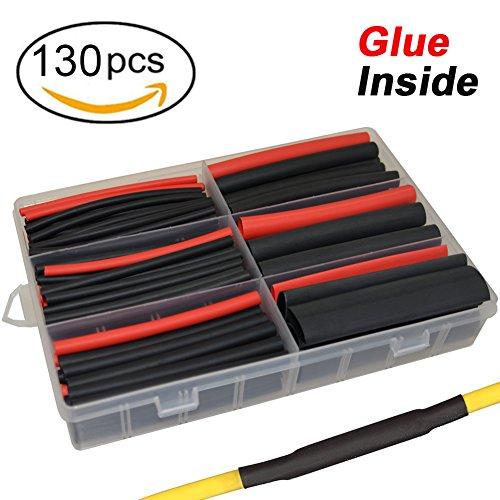 130 pcs 3:1 Dual Wall Adhesive Heat Shrink Tubing kit, 6 Sizes(DIA): 1/2