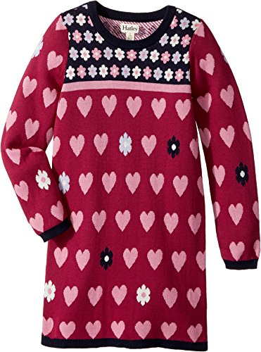 Hatley Kids Baby Girl's Daisy hearts Sweater Dress (Toddler/Little Kids/Big Kids) Red 7 (Hatley Heart)