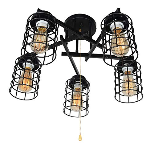 Baiwaiz Industrial Semi Flush Mount Ceiling Light with Pull Chain, Black Metal Wire Cage Ceiling Light Fixture Pull String Light 5 Lights Edison E26 084