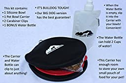 Northern Outback SUPERSIZED Travel Pet Bowl and Carrier - 1 Collapsible 5 CUP Silicone Bowl with BONUS Water Bottle! BEST TRAVEL DOG BOWL - CAT BOWL - BPA FREE