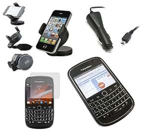 iTALKonline CAR DRIVE Pack ROJO NEGRO Soft Progel caso Hydro / portada / piel, pantalla LCD / Scratch Protector, 12/24V Cargador de coche, en coche de succión del parabrisas titular para BlackBerry 9900 Bold Touch