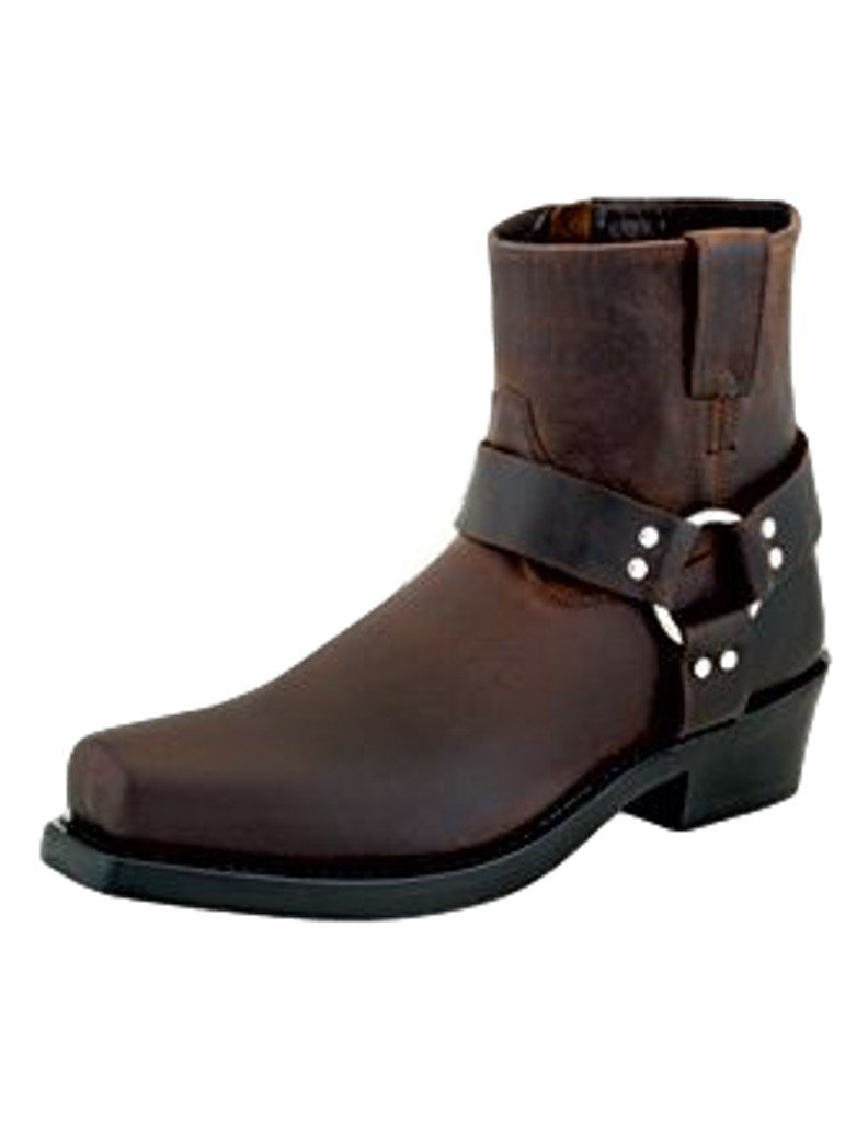 Old West Boots Men's Short Harness Boot Brown Distressed Boot