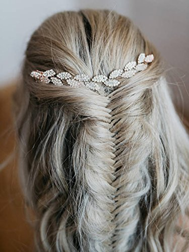 Aegenacess Wedding Hair Comb Rhinestones Leaf Hair Vine - Bridal Clips Grecian Petite Headpiece Blush Hairpiece for Brides and Bridesmaids Women and Girls (rose gold) ()