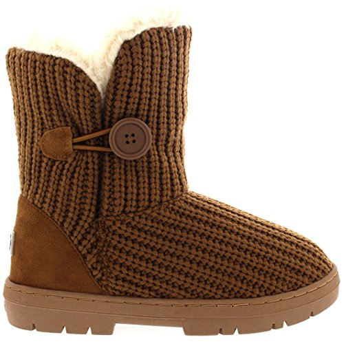 Womens Single Button Full Fur gefütterte wasserdichte Winter Schneeschuhe Tan gestrickt