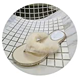 Threeflower Women's Furry Slippers Flip Flops Summer Casual Shoes Home Real Fur Slippers