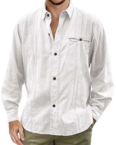 Enjoybuy Mens Cuban Camp Guayabera Linen Shirts Casual Button Down Loose Fit Beach Shirts ()