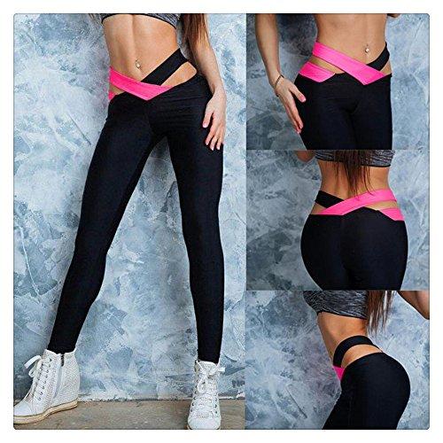 Litetao 2017 Women Sexy Gym Yoga Mid Waisted Printed Fitness Elastic Leggings Pants (S, Hot Pink)