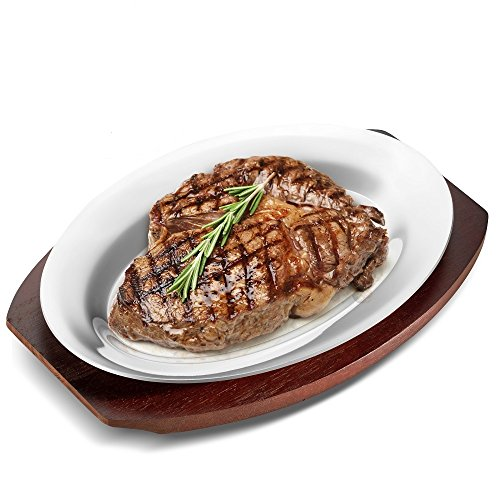 "Sizzling Platter Steak Plate Set, 10"" Oval Aluminum Sizzle Plate with Wooden Liner Base-Indoor/Outdoor Steak Pan Grill Server-Display Fish,Steak,Pizza,Baked or Grilled Goods-Premium Commercial Grade"