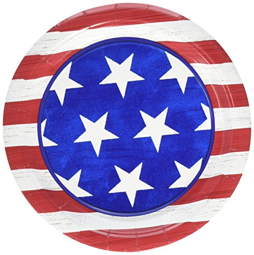 Amscan Americana Dessert Plates Patriotic 4Th of July Party Disposable Tableware (50 Piece), Multicolor,
