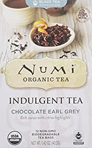 Numi Tea Indulgent Tea Chocolate Earl Grey Bags, 12 Count