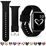 Merlion Compatible with Apple Watch Band 38mm 42mm 40mm 44mm Black for Women/Men,Soft Silicone Replacement Bands for iWatch Series 4/3/2/1