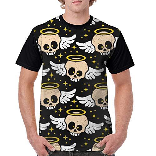 Daisysky Skull Angel Minimalist Art Man Adult Summer Round Neck Polyester Energetic Travel XXXL Short Sleevet-Shirt from Daisysky