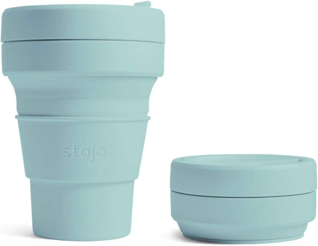 Stojo On The Go Collapsible Coffee Cup | Pocket Size Collapsible Silicone Travel Cup | Brooklyn Collection 12oz 355ml Aquamarine