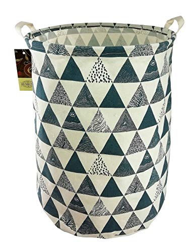 HUNRUNG Large Canvas Fabric Lightweight Storage Basket/Toy Organizer/Dirty Clothes Collapsible Waterproof for College Dorms, Kids Bedroom,Bathroom,Laundry Hamper (Blue Triangle) (Hamper Fabric)