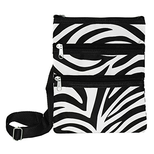 World Traveler Womens 9 Inch Swingpack Purse Bag, Black Trim Zebra, One Size