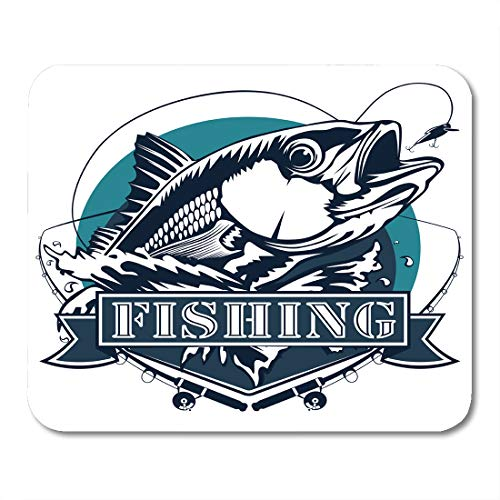 Emvency Mouse Pads Fish Red Snapper Rods and Ocean Waves Fishing White Fisherman Bass Redfish Mousepad 9.5