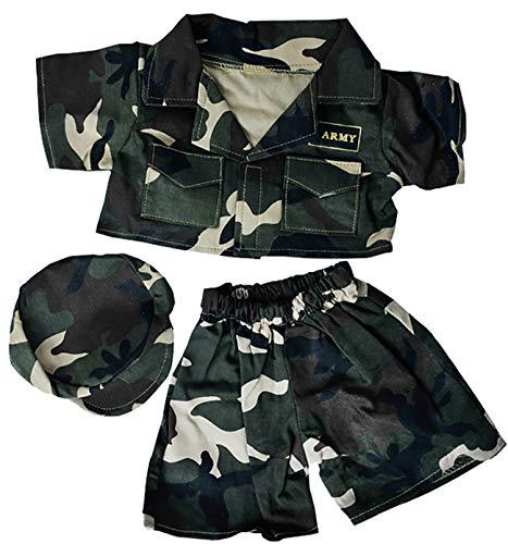 (Army Green w/Cap Teddy Bear Clothes Fits Most 14
