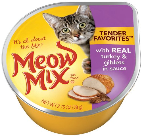 Meow Mix Tender Favorites Real Turkey and Giblets in Sauce, 2.75-Ounce Cups (Pack of 24), My Pet Supplies
