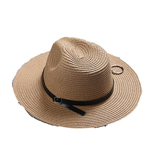 4in 500 Straws - Heart .Attack Large caps Seaside Resort Sunscreen Sequin Tourism Folding Straw Hat Female,Buckle Ring Hat Khaki