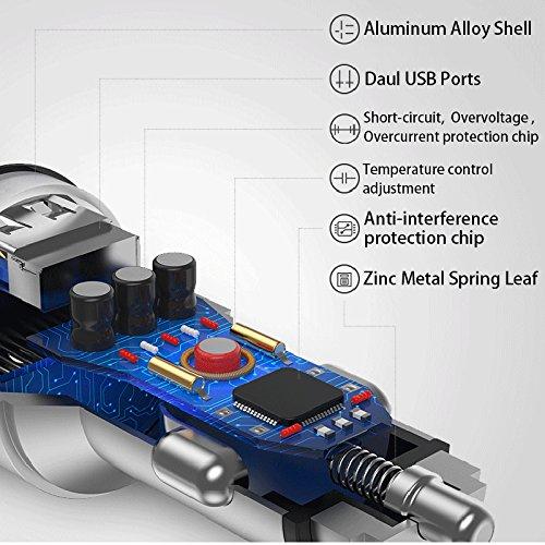 CZCDQA Le double adaptateur 3.1A de chargeur de voiture dUsb a men/é la tension//courant Chargeur intelligent de Shell en m/étal pour le t/él/éphone intelligent//comprim/é
