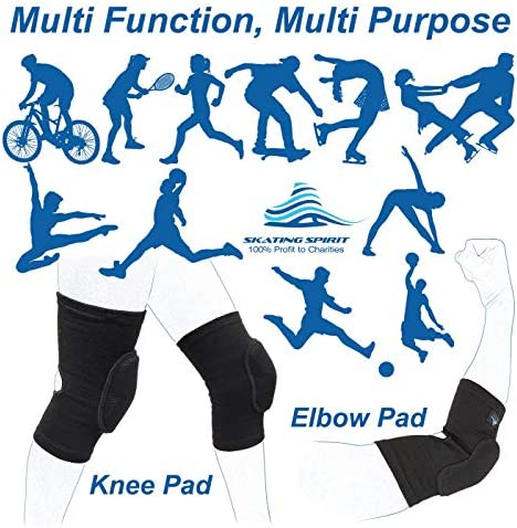 1 Pair Youth Adult Protective Anti-Slip Anti-Collision Open Kneepit Multi-Function Multi-Purpose Skating Spirit Soft Knee Pads Elbow Pads