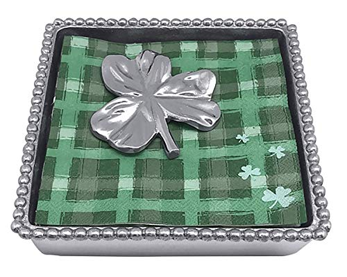 - Mariposa Beaded String of Pearls Bar Cocktail Napkin Box with Shamrock weight and matching napkins