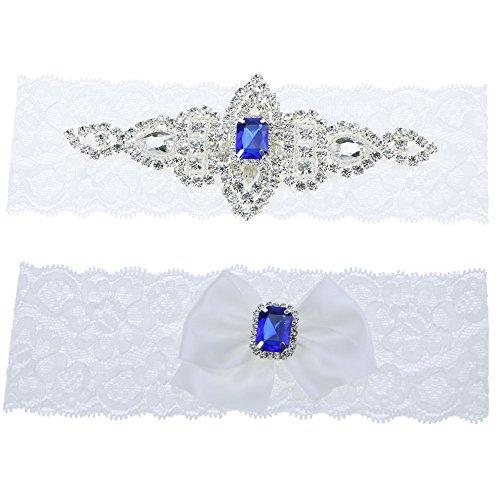 Topwon Sapphire Blue Wedding Garter Set / Bridal Garter / Lace Garter / Keepsake and Toss Garter