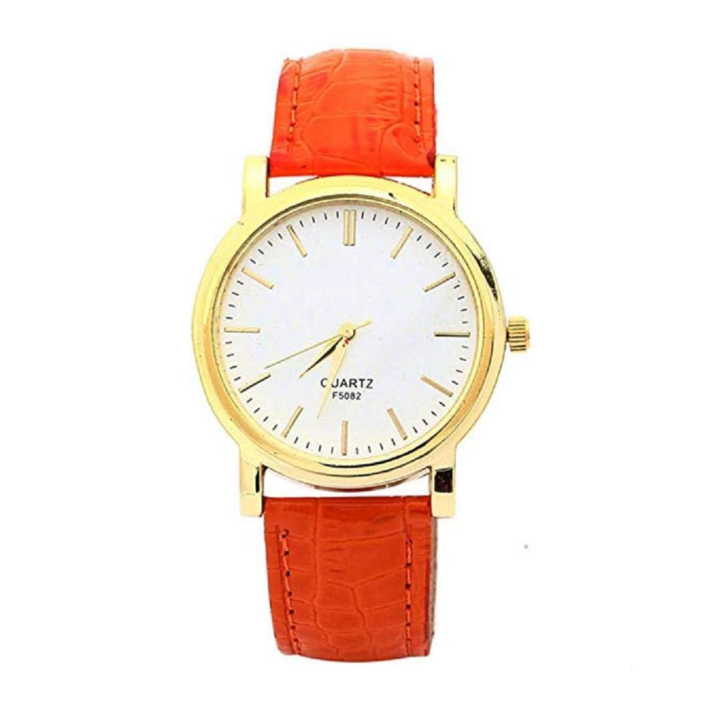 Scpink Relojes de Cuarzo para Mujer Liquidación Relojes de Pulsera para Mujer Relojes analógicos Relojes de Cuero para Mujeres (Naranja): Amazon.es: Relojes
