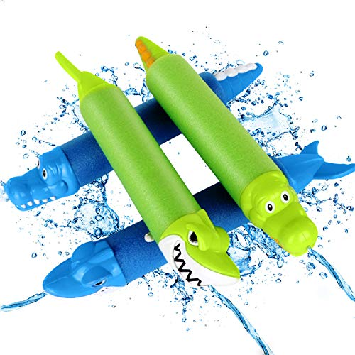 Teqifu Water Gun for Kids, 4 Pack Animal Foam Water Blaster Summer Beach Toys Outdoor Swimming Pool Party Games Toys for Kids Adults,10.2''-17.7'' Water Gun Shoots up to 35ft