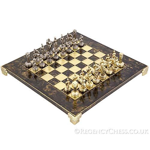 (Regencychess Manopoulos Greek Roman Army Metal Chess Set)