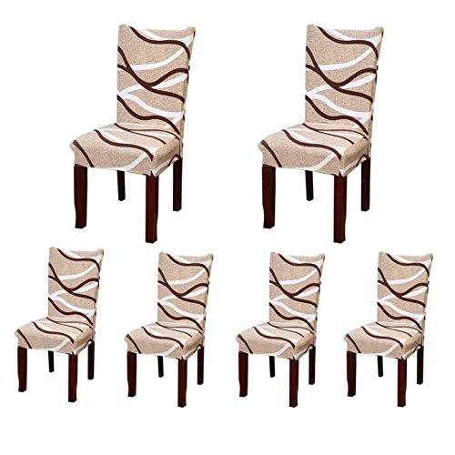6 x Soulfeel Soft Spandex Fit Stretch Short Dining Room Chair Covers with Printed Pattern, Banquet Chair Seat Protector Slipcover for Hone Party Hotel Wedding Ceremony (Style 3)