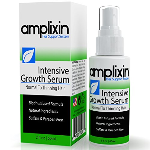 Amplixin Intensive Hair Growth Serum Against Hair Loss - Receding Hairline and Baldness - Infused with Biotin and Caffeine - Promotes Healthy Hair Growth - SLS and Paraben Free