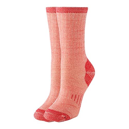 Thermal 70% Merino Wool Socks Thermal Hiking Crew Winter Women's 1 2 3 4 Pairs (red 1pair)