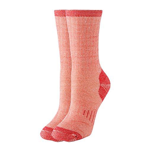 (Thermal 70% Merino Wool Socks Thermal Hiking Crew Winter Women's 1 2 3 4 Pairs (red)