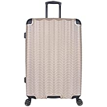 """Kenneth Cole Reaction Wave Rush 28"""" Lightweight Hardside 8-Wheel Spinner Expandable Checked Suitcase, Champagne"""