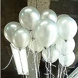 Seguryy Sachet de 100 Ballons Nacrés Perle Latex–10pouces Ballons Décoration pour Anniversaire Mariage Soirée Partie (blanc nacré)