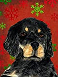 Caroline's Treasures SS4722CHF Gordon Setter Red and Green Snowflakes Holiday Christmas Canvas House Flag, Large, Multicolor