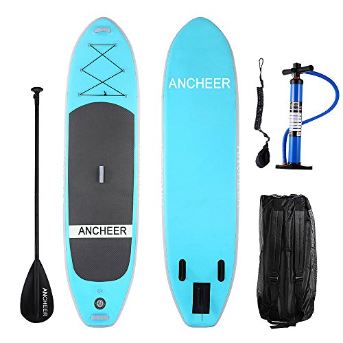 ANCHEER Inflatable Stand Up Paddle Board 10', iSUP Package w/Adjustable Paddle, Leash, Pump and Backpack (AS10_Blue_10' x 30'' x 6''_0.9 mm Single Layer PVC)