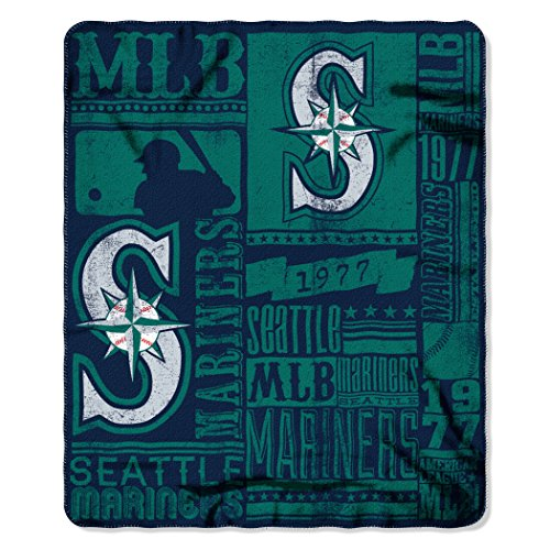 The Northwest Company MLB Seattle Mariners Strength Fleece Throw Blanket 50-inch by 60-inch, - Mariners Bedding Seattle