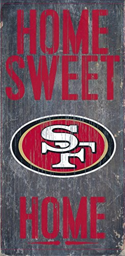 (San Francisco 49ers Wood Sign - Home Sweet Home 6''x12'')