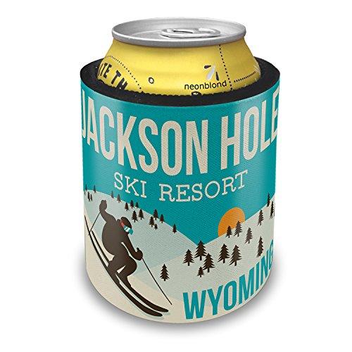 Slap Can Coolers Jackson Hole Ski Resort - Wyoming Ski Resort Insulator Sleeve Covers Neonblond