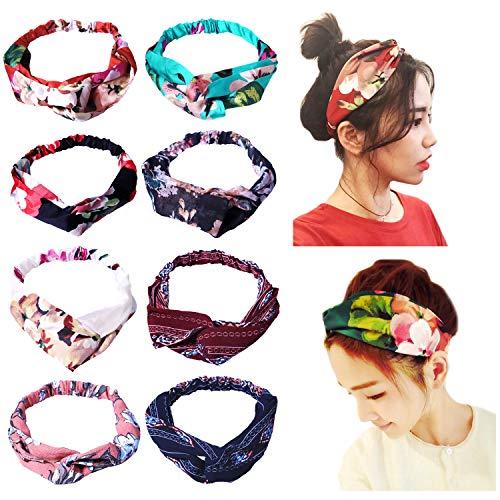 (Amandir 8 Pack Headbands for Women Boho Cute Twist Headband Criss Cross Head Wraps Hair Band Bows Accessories)