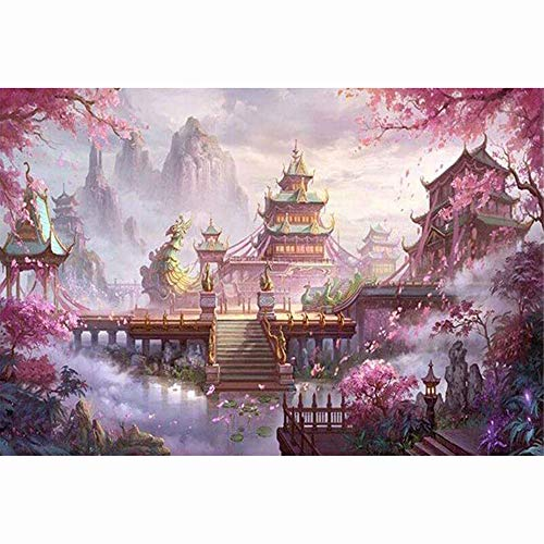 - Mikilon 5D DIY Diamond Painting Full Drill for Adults Resin Square Rhinestones Patsed Unfinished Cross Stitch Home Decor Best Gift, 12x16 Inches (Cherry Blossoms Temple)