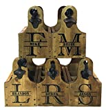 (Pack of 5) Personalized Rustic Wood Beer Caddy with Bottle Opener and Magnetic Cap Catch - Split Monogram